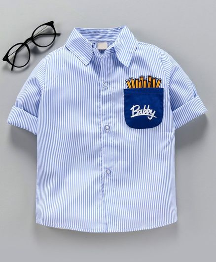Kookie Kids Full Sleeves Striped Shirt with Pocket Print - Blue