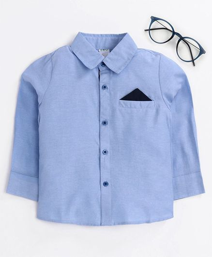 Kookie Kids Full Sleeves Solid Shirts - Blue