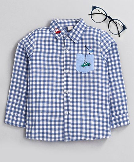 Kookie Kids Full Sleeves Checked Shirt - Blue