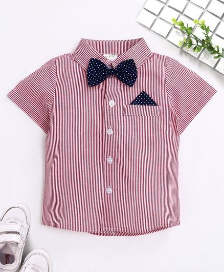 Kookie Kids Full Sleeves Striped Party Wear Shirt with Bow - Pink