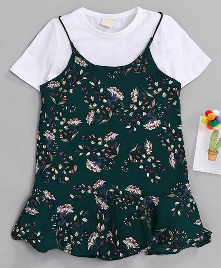 Kookie Kids Singlet Frock With Inner Tee Floral Print - Dark Green White