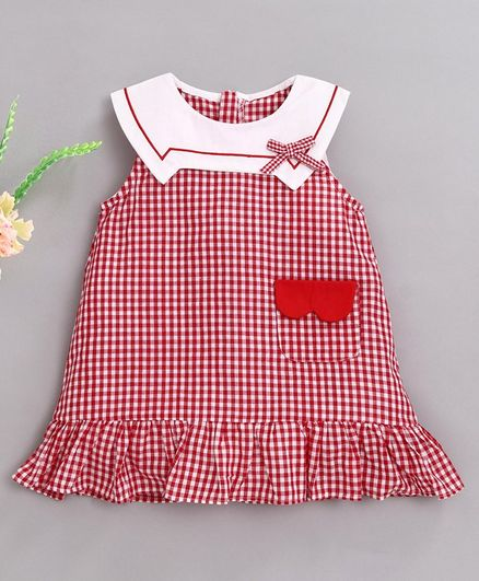Kookie Kids Sleeveless Checks Frock - Red White