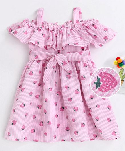 Kookie Kids Cold Shoulder Striped Frock Strawberry Print - Pink
