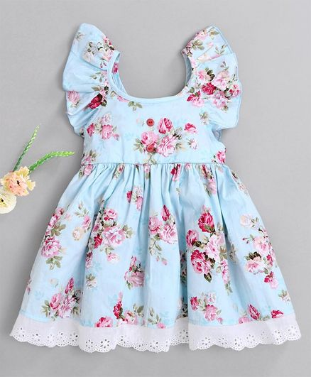 Kookie Kids Short Ruffled Sleeves Frock Floral Print - Light Blue