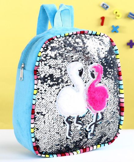 School Bag with Sequin Patch Blue - 12 Inches