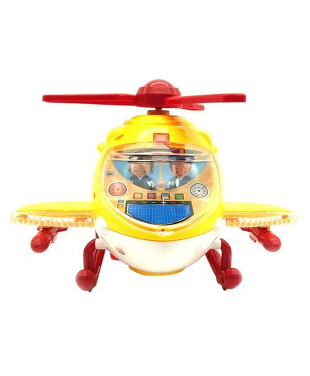 Emob Friction Powered Helicopter Toy With Light & Sound Effects - Yellow