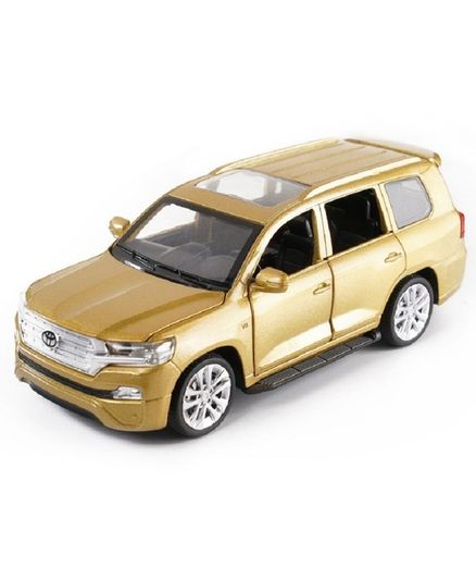 Emob Die Cast Pull Back Toyota Cruiser Toy Car With Light & Sound - Golden