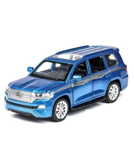 Emob Die Cast Pull Back Toyota Cruiser Toy Car With Light & Sound - Blue