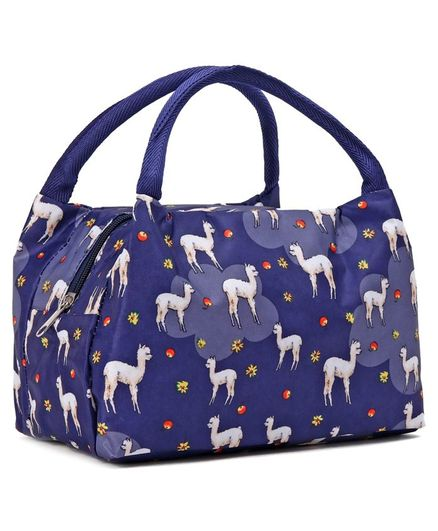 Lunch Box Bag with Animal Print - Blue