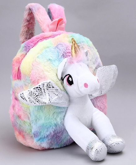 Unicorn Plush Bag Multicolor - 10 inches