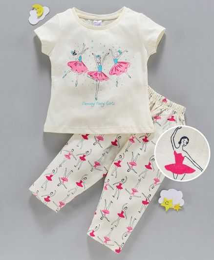 Smarty 100% Cotton Half Sleeves Night Suit Ballerina Print - Cream