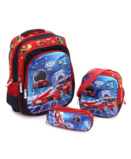 School Bag Kit Car Print Red - Height 15.7 inches