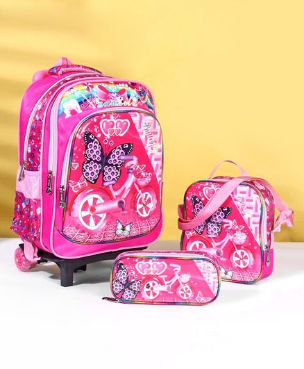 School Bag Kit Butterfly Print Set of 3 - Pink