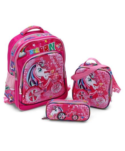 School Bag Kit Unicorn Print Pink - Height 15.7 inches