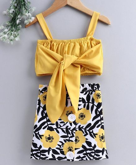 Kookie Kids Sleeveless Top with Skirt Floral Print - Yellow Black