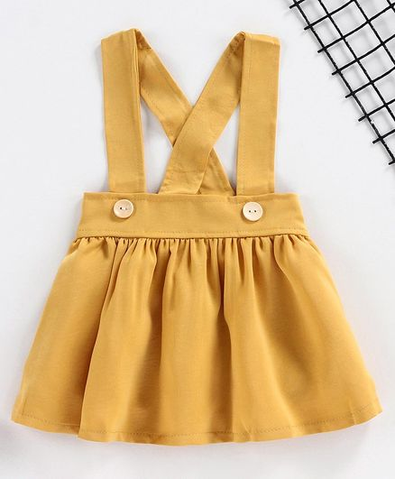 Kookie Kids Solid Color Skirt with Suspenders - Mustard Yellow