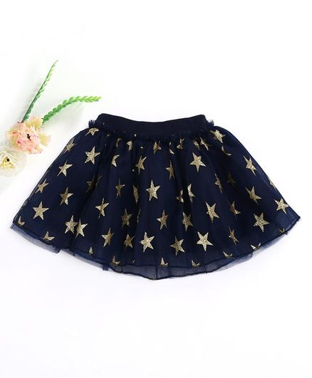 Kookie Kids Skirt Star Print - Navy Blue