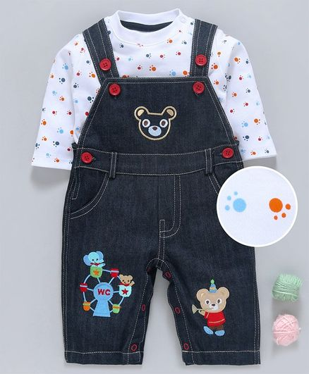 Wonderchild Full Sleeves Foot Print Tee With Teddy Bear Patch Romper - Blue