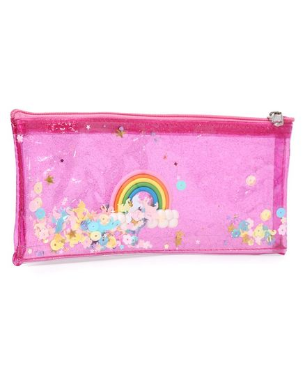 Rectangle Pouch Rainbow Print - Pink