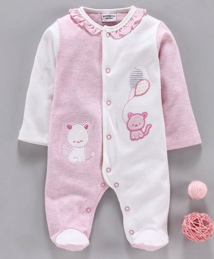 Wonderchild Cat Patch Full Sleeves Footed Romper - Pink & White