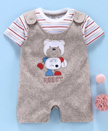Wonderchild Bear Patch Romper With Striped Half Sleeves T-Shirt - Brown