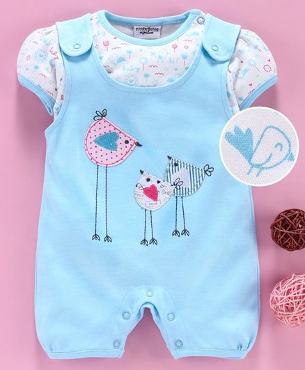 Wonderchild Short Sleeves Bird Patch Romper With Printed Tee - Blue