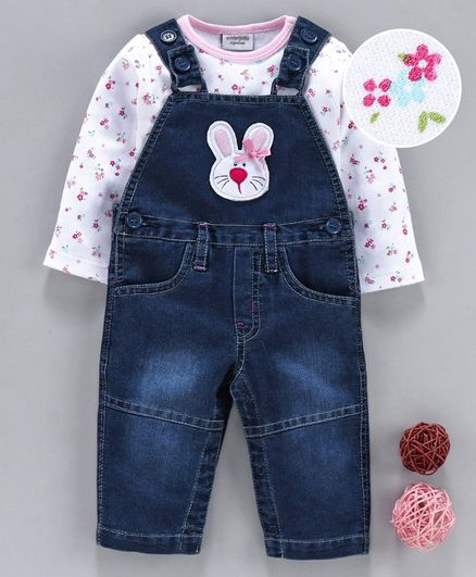 Wonderchild Full Sleeves Floral Print Top With Bunny Patch Dungaree - Dark Blue