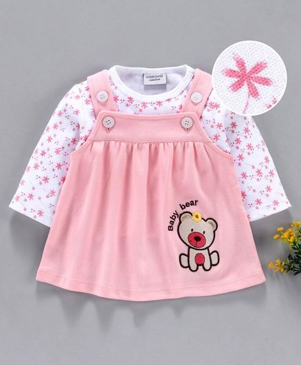 Wonderchild Full Sleeves Flower Print Top With Sleeveless Bunny Patch Dress - Pink