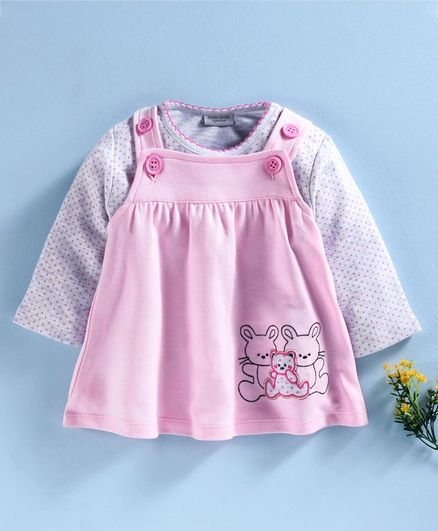 Wonderchild Bunny Patch Dress With Full Sleeves T-Shirt - Pink