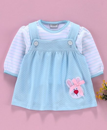 Wonderchild Full Sleeves Striped Top With Bunny Patch Dress - Blue
