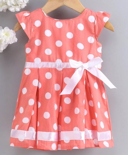 Babyhug Cap Sleeves Pleated Frock Bow Applique - Coral