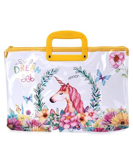 Rectangle Folder Bag with Handle Unicorn Print - Yellow