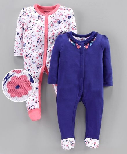 Babyoye Cotton Full Sleeves Footed Sleep Suit Pack of 2 - Blue White