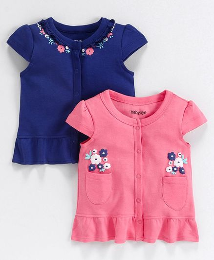 Babyoye Cotton Cap Sleeves Jhabla Vest Floral Print Pack of 2 - Pink Blue