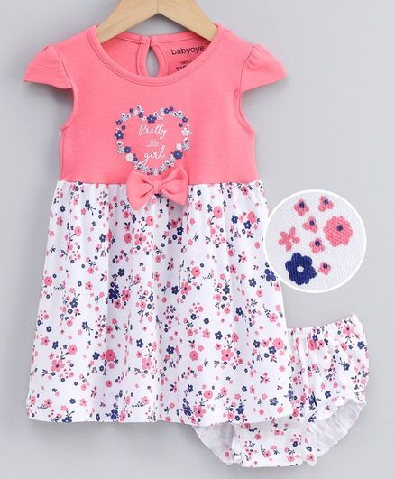 Babyoye Cap Sleeves Cotton Frock with Bloomer Floral Print - Pink