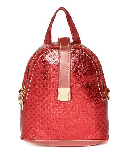 Kids On Board Shimmer Solid Backpack - Red
