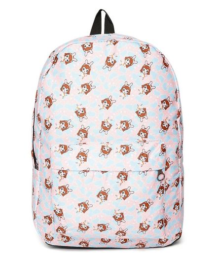 Kids On Board Girl Print Backpack - Peach