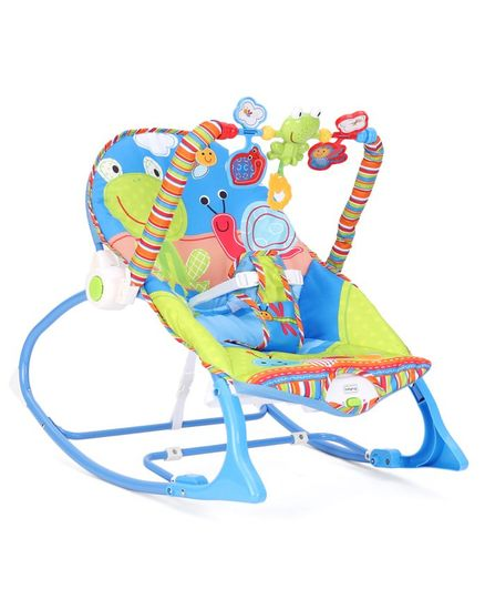Baby Rocker With Toy Arc Frog Print - Blue