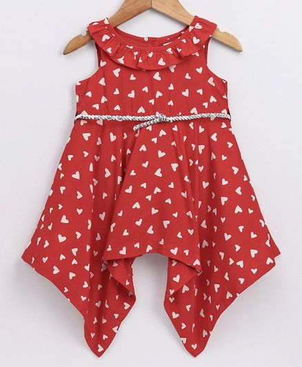 Babyoye Sleeveless Cotton Frock Heart Print - Red