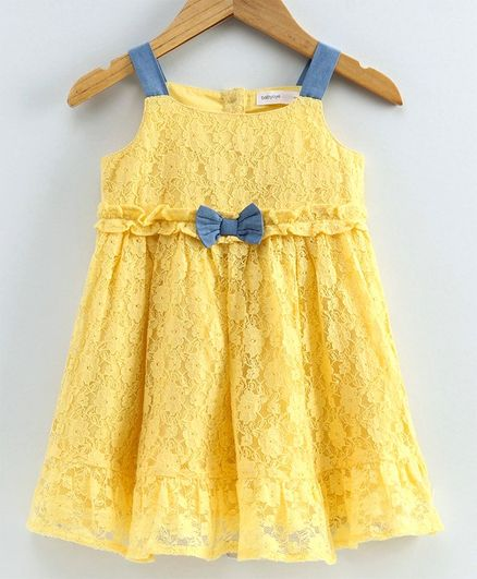 Babyoye Cotton Singlet Frock Floral Lace Overlay - Yellow