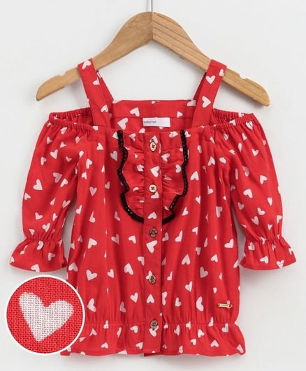Babyoye Cold Shoulder Cotton Top Heart Print - Red