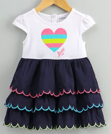 Babyoye Cotton Cap Sleeves Frock Heart Print - White Blue