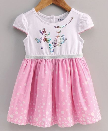 Babyoye Cotton Cap Sleeves Frock Butterfly Print - White Pink