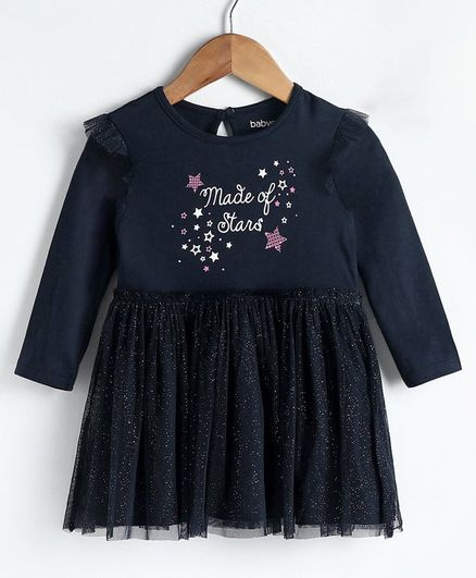 Babyoye Full Sleeves Ruffled Frock with Shimmer Star Print - Navy Blue