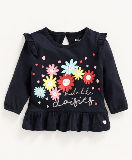 Babyoye Cotton Full Sleeves Top Floral Print - Navy Blue