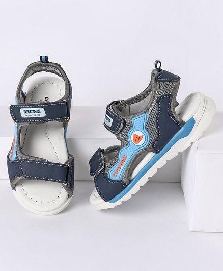 Cute Walk by Babyhug Sandals with Triple Velcro Closure - Navy Blue