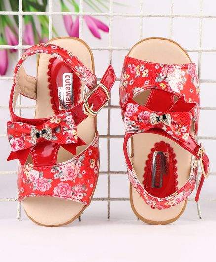 Cute Walk by Babyhug Party Wear Sandals Bow Applique - Red