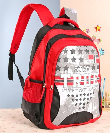 Gravity School Bag Star Print Red - 19 Inches