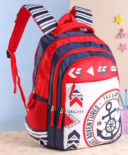 Gravity Great Adventure School Bag Blue Red - 17 Inches