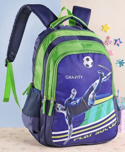 Gravity Play Soccer School Bag Blue Green - 19 Inches